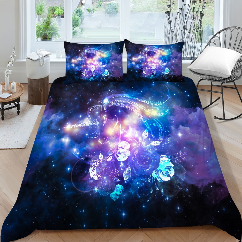Unicorn Series Bedding Set Galaxy Print Mysterious Duvet Cover Beautiful King Queen Twin Full Double Single Bed Set For Girls galaxy print full over bed sheet set