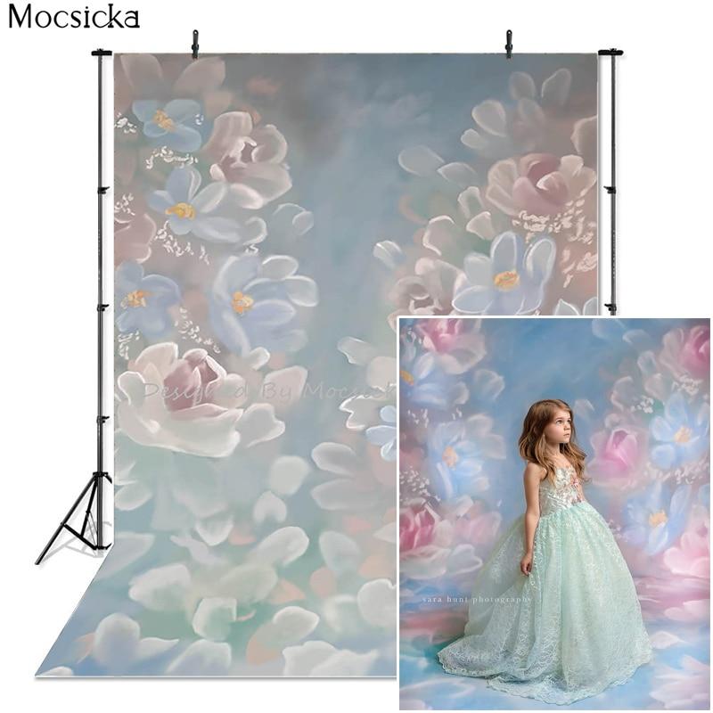 Mocsicka Hand Drawn Flowers Photography Background Backdrop Newborn Baby Child Pregnant Woman Portrait Photo Decoration Props enlarge