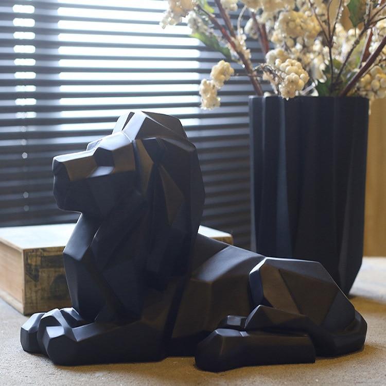 Escultura de León abstracta moderna, figura de Animal de resina, figura de estilo geométrico, decoración de escritorio para el hogar, accesorios de oficina, regalo