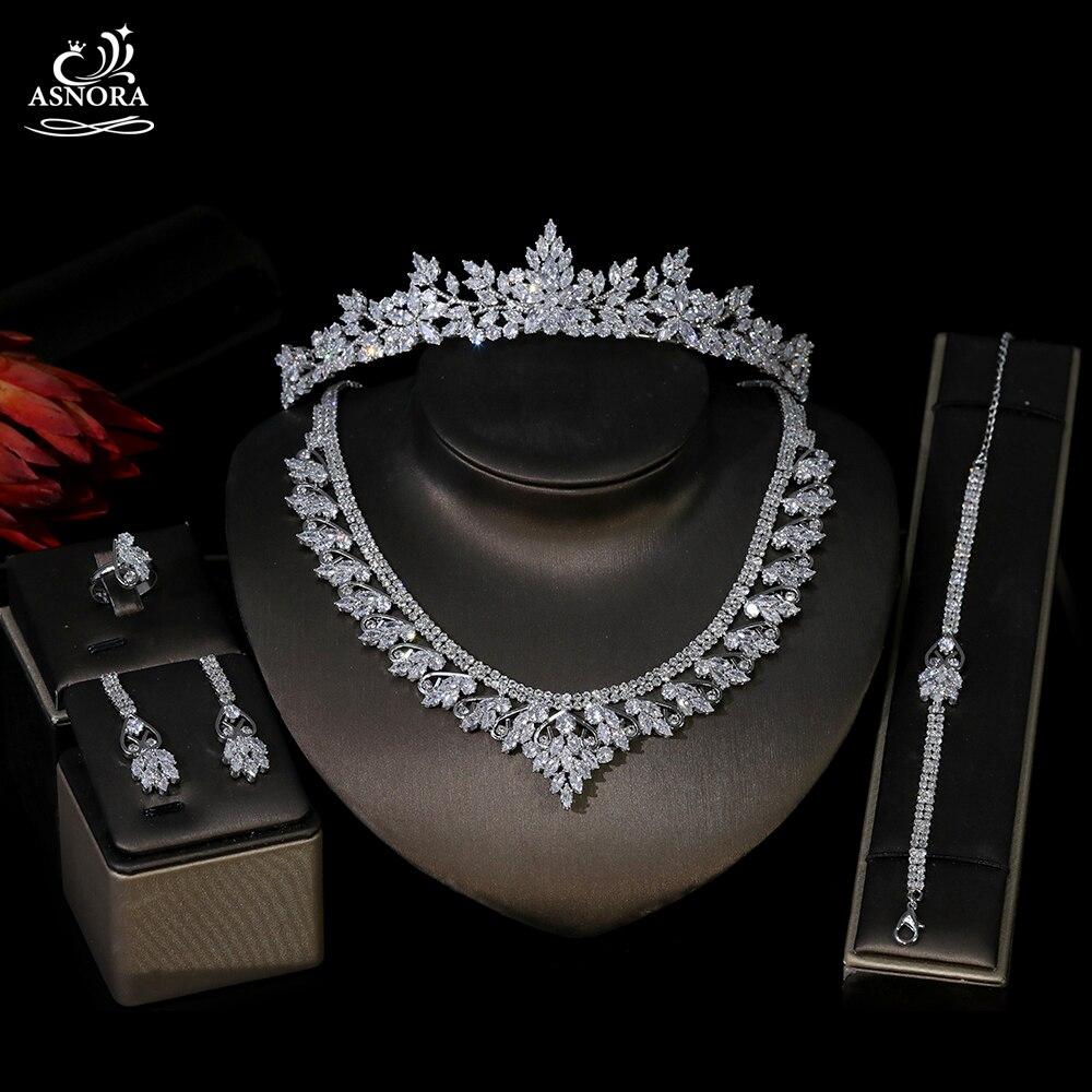 رومانسية و مجوهرات أنيقة مجموعة للنساء تشيكوسلوفاكيا الزفاف غطاء الرأس قلادة أقراط الطوق سوار مجموعة T0998
