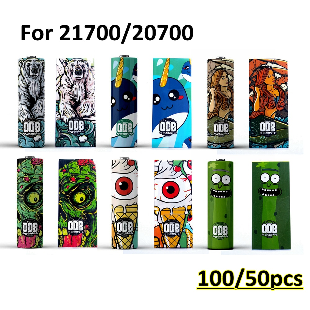 100/50pcs Packs Battery Wrap ODB Sleeve Skin For 18650 21700 Battery Vape Electronic Cigarette Accessories Series Sleeve Case
