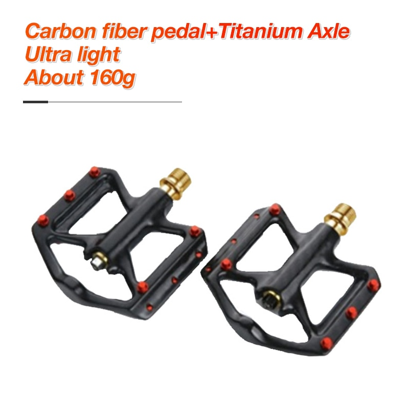 Ultra Light Carbon Fiber Pedals Lightweight Bicycle Platform Pedals Three Bearing Titanium Axle MTB Bicycle Road Bike Pedals
