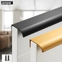 punch free hidden cabinet handles aluminum alloy black gold kitchen cupboard pulls drawer knobs bedroom furniture handle