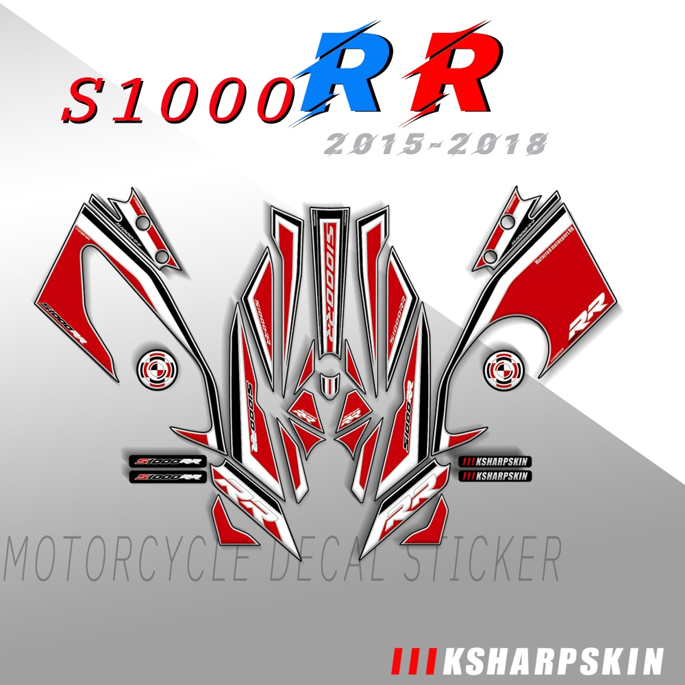 ملصقات انسيابية أمامية وخلفية ثلاثية الأبعاد للدراجات النارية ، مجموعة ملصقات لرأس وذيل الدراجة النارية ، لسيارات BMW S1000RR 2015-2018 S1000 RR