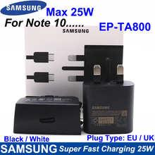 Супербыстрое зарядное устройство для Samsung, 25 Вт, ЕС/Великобритания, Тип C, быстрая зарядка для путешествий для GALAXY Note10, Note10 Plus, Note 20, Ultra EP-TA800