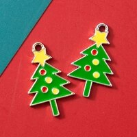 10pcs enamel christmas tree charm pendant for jewerly diy making bracelet women necklace earrings accessories findings craft