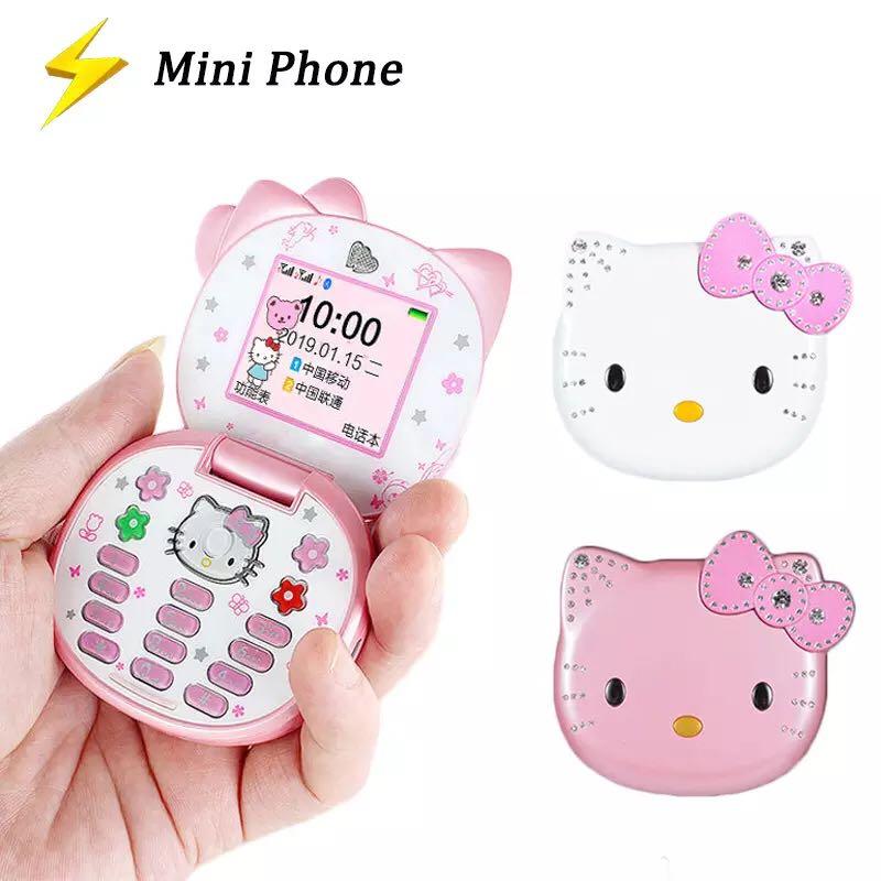 Сверхмилый складной мини-телефон-раскладушка, телефон-книжка с четырёхдиапазонным мультяшным рисунком, разблокированный детский сотовый ...