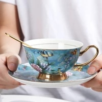 noble pastoral bird caffe cup chinese blue and white porcelain coffee cup expresso cup green tea teacup artistic funny mug 250ml