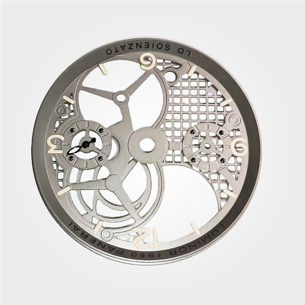 Dial de reloj de repuesto para ETA 6497 6498 movimiento de cuerda manual 38,9 MM Dial de reloj hueco tridimensional