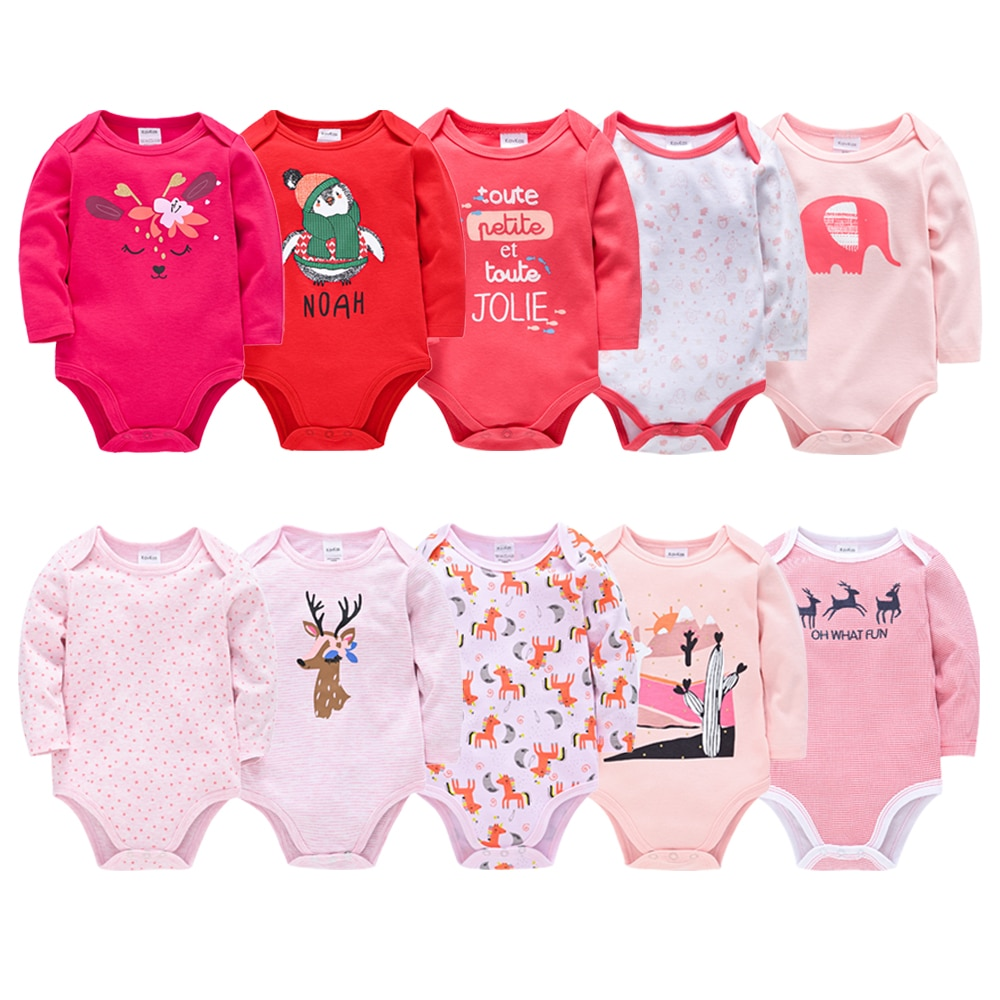 Long Sleeve Bodysuit Baby Girl Clothing 5PCS 3PCS Knitted Cotton New Born Baby Boy Bodysuits Ropa bebe Newborn Clothes Body bebe