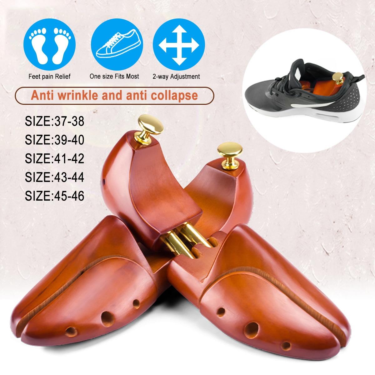 1Pair Shoe Stretcher Wooden Shoes Tree Rack Wood Adjustable Flats Pumps Boots Heels Expander Trees Size 37-48 Man Women