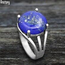 Jades de cuarzo redondo Vintage lapislázuli anillos de plata antigua plateado Piedra Natural garra Ojo de Tigre unakita anillo para mujeres de moda