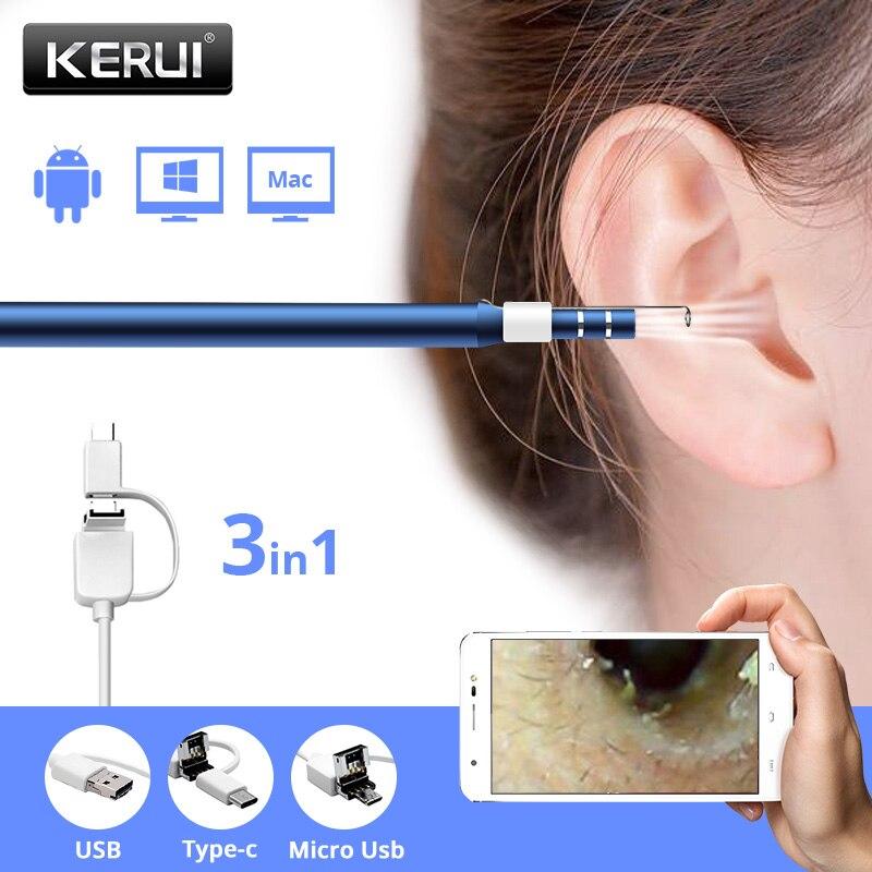 KERUI, endoscopio de limpieza de orejas Visual, boroscopio 420P 720P HD, endoscopio USB con púa para oreja, Mini cámara para sistema Android Phone Windows