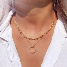 2021 New Product Metal Double Circle Necklace Bohemian Style Ladies Fashion Simple Jewelry A Good Gi