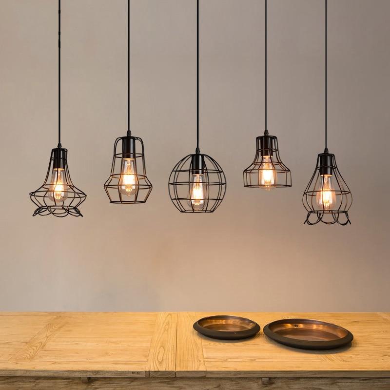 Modern Black Cage E27 Pendant Light Minimalist Iron Retro Scandinavian Loft Pyramid Lamp Metal Hanging Lamp DIY Home Decoration