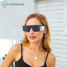 UV400 Women Brand Oversized Sun Glasses Rimless Shield Cat Eye Sunglasses Men One Piece Goggle Vinta
