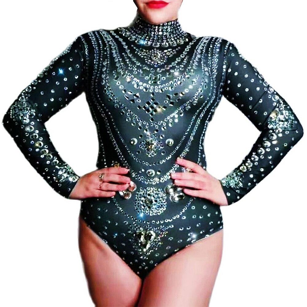 شخصية الأسود الساطع حجر الراين راقصة النساء ارتداءها طويلة الأكمام ضيق تمتد حللا ملهى ليلي المغني المرحلة ارتداء