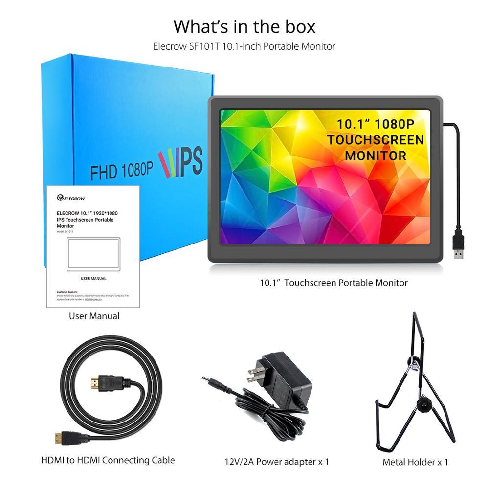 Elecrow – moniteur Portable à écran tactile IPS de 10.1 pouces, 1920x1080 px, avec haut-parleurs et écran capacitif de 10.1 pouces pour Raspberry Pi