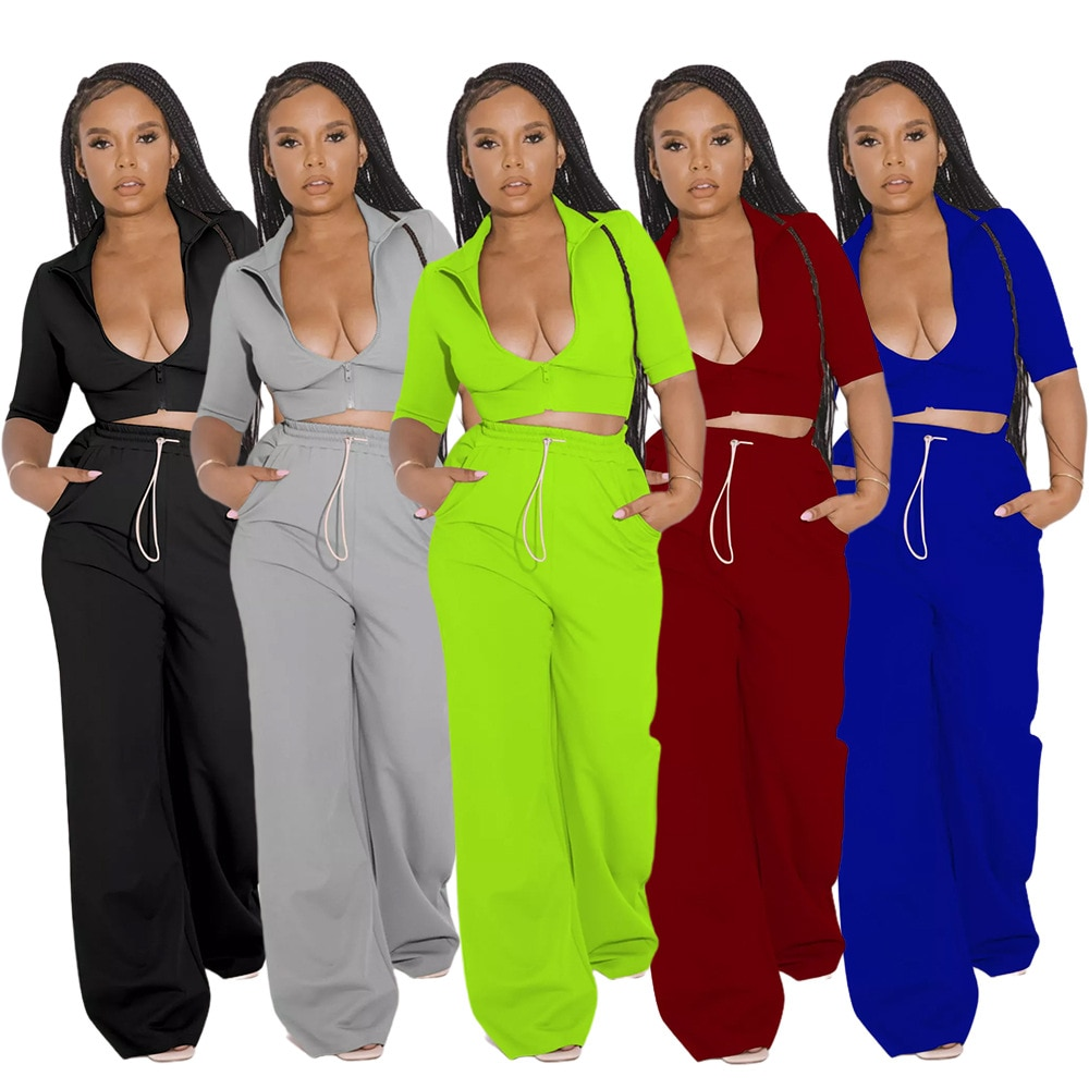 Осень 2021, Женский комплект из двух предметов, рубашка и длинные широкие брюки, спортивный костюм, спортивный костюм, комплект, однотонная од...