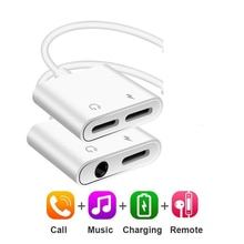 Adaptador de Audio 2 en 1 Cable de carga de auriculares para iPhone 11x7 8 plus Aux Jack auriculares para iluminación 3,5mm a divisor de auriculares