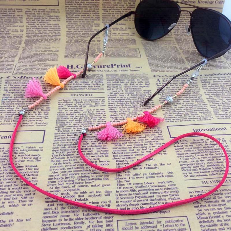 Nueva Venta de gafas de sol con borla para mujer, gafas de lectura, cadena, cordón, correa para el cuello