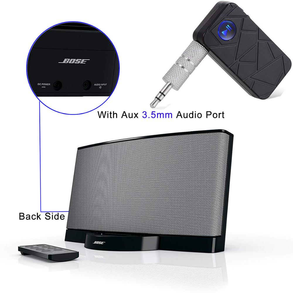 Bluetooth 4,1 manos libres receptor de música Adaptador inalámbrico para coche de casa Bose Soundock altavoz con estéreo Aux 3,5mm salida de Audio