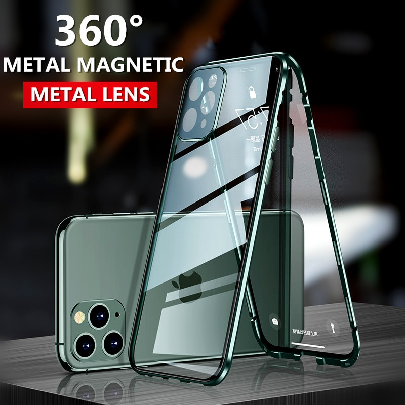 Para iphone 11 Pro Max X XS XR estuches Metal Cámara lente vidrio protector película funda magnética frontal trasera de vidrio templado