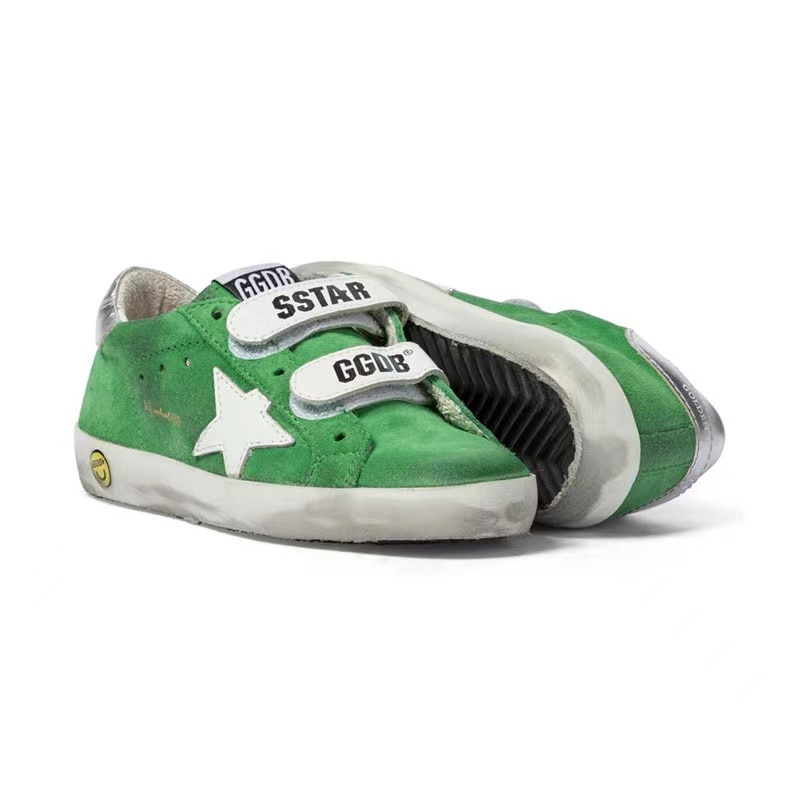 Spring/summer Parent-child  New Product Cow Wool  Retro Old Small Dirty Shoes Casual Velcro Green Children Sneakers CS219 enlarge