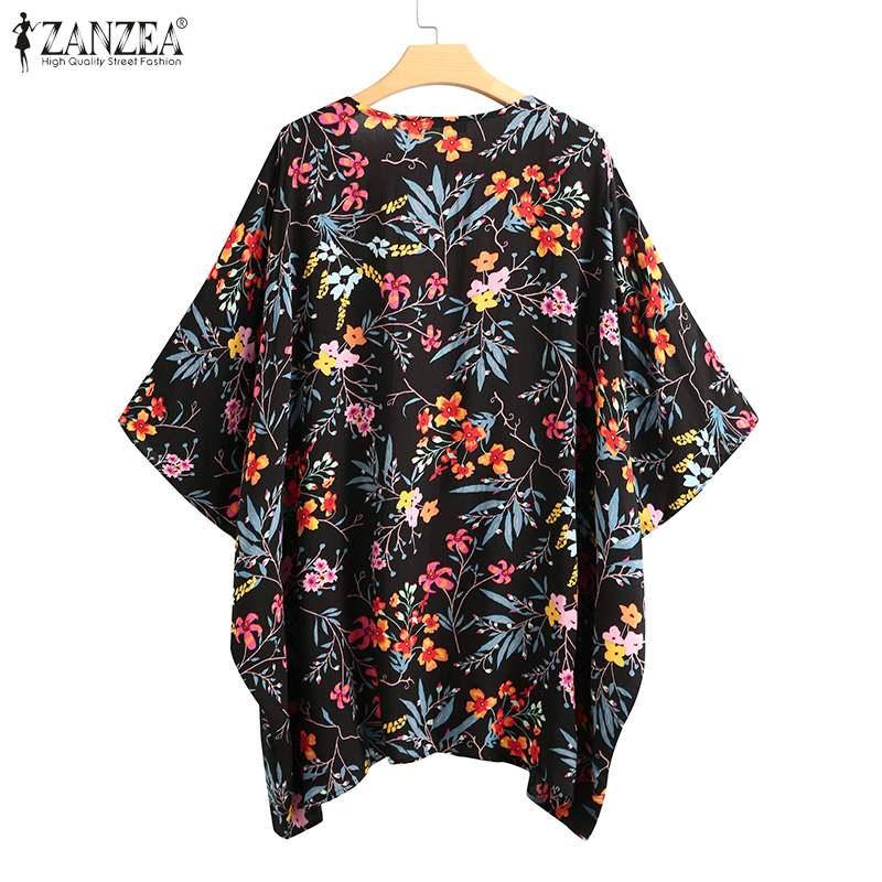 Plus Size Tunic Women's Printed Blouse Zanzea Fashion Summer Kimono Cape Floral Cardigans Female Casual Open Stitch Cover-Up