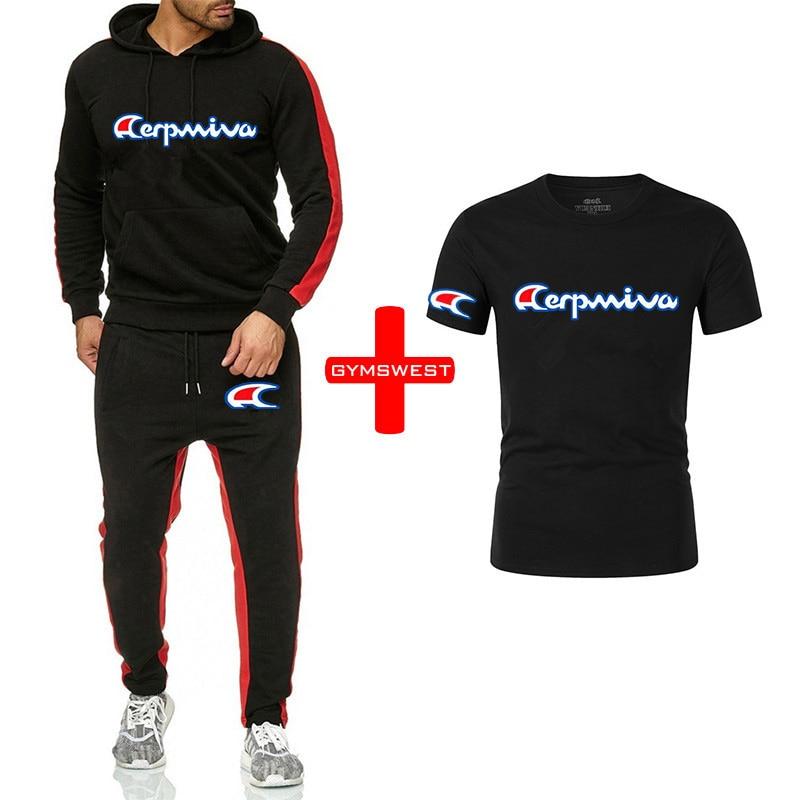 2020 de los hombres ropa de otoño e invierno deportes traje casual suéter deportes pantalones camiseta 3 piezas marca fitness traje de los hombres