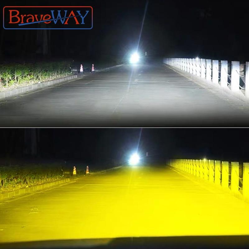 BraveWay 3000K + 6500K H1 H3 H8 H9 H11 LED مجموعة مصابيح سيارة ل سيارة H7 LED في Canbus HB3 9006 HB4 LED لمبات 12V 24V 12000LM الضباب أضواء