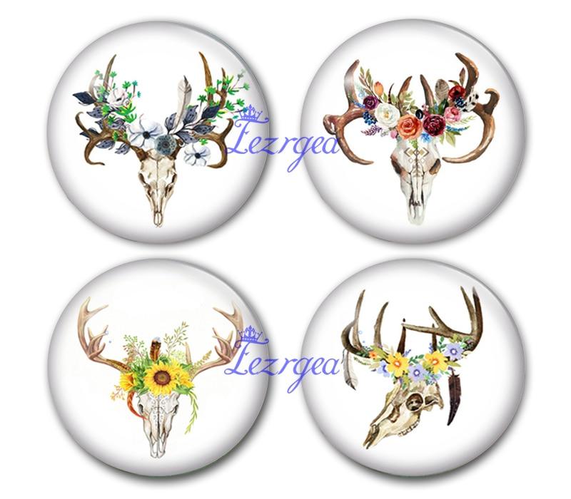 Cráneo redondo hecho a mano cabeza de ciervo y flor cabujón de cristal con foto joyería de cornamenta encontrar engastes de colgante de camafeo