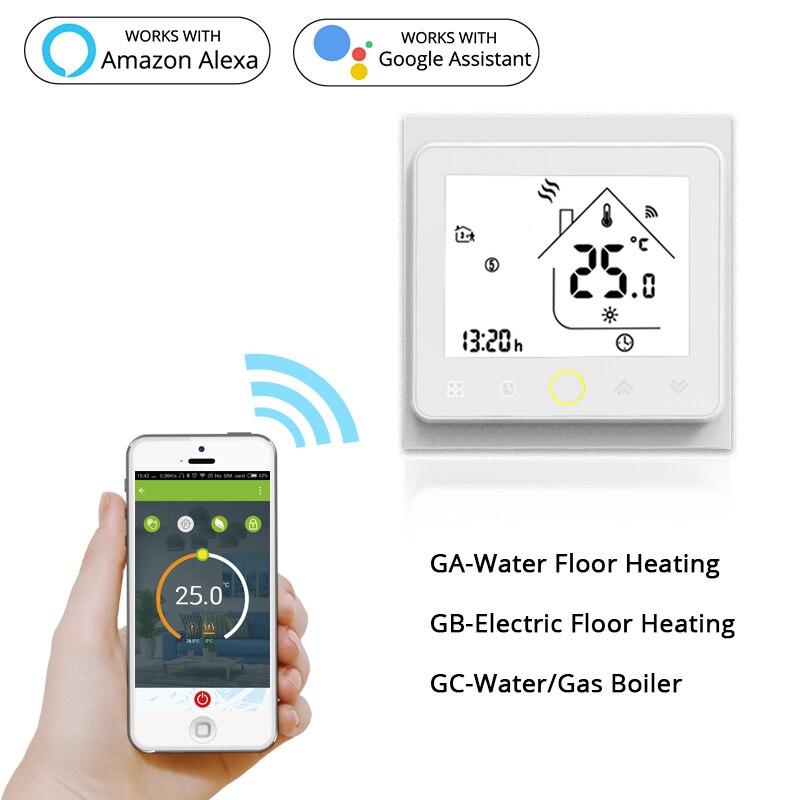 Thermostat WiFi intelligent, régulateur de température, chauffe-eau électrique au sol, chaudière à gaz, fonctionne avec Echo Google Home Tuya