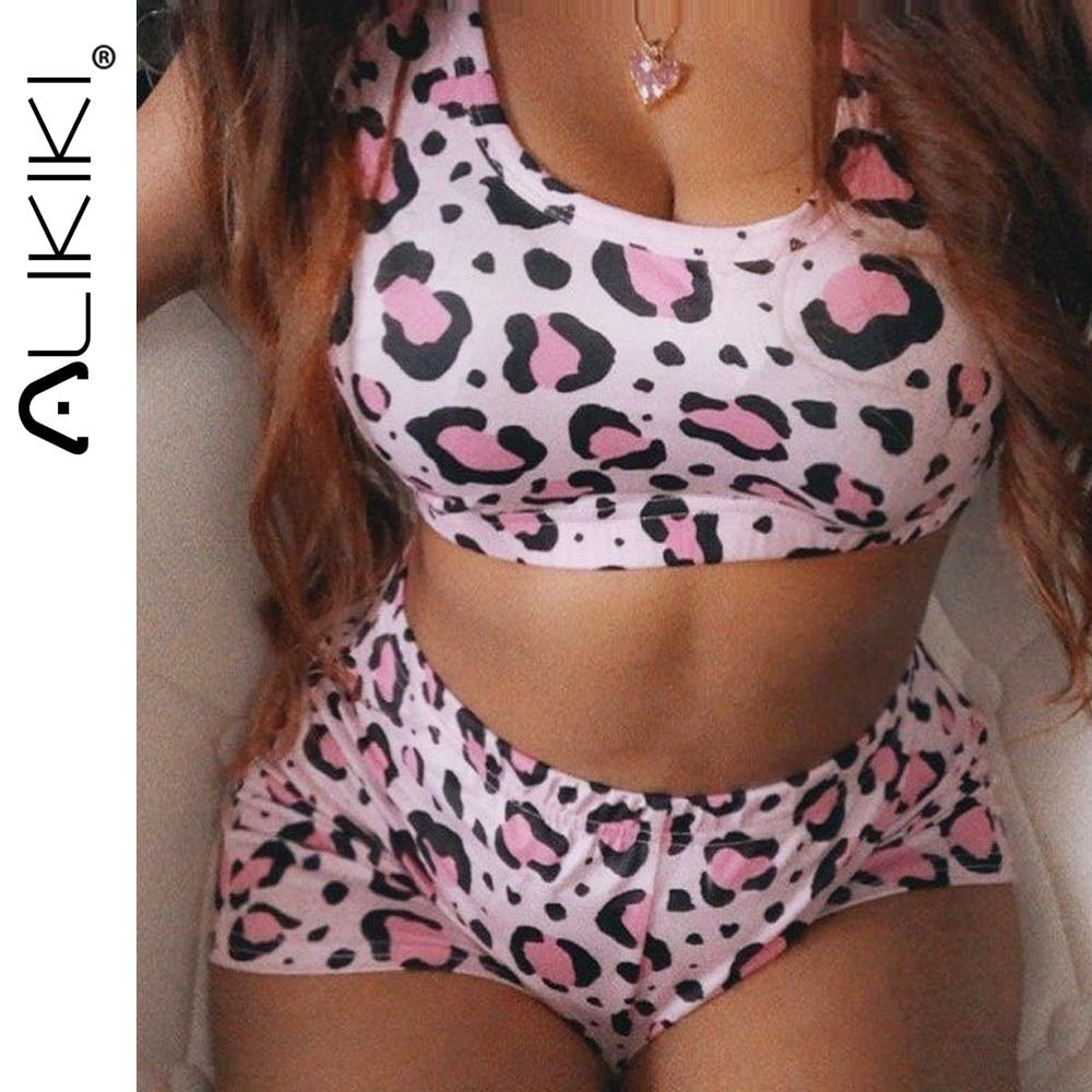 2 pieces zodiac sign pijamas conjunto sexy sim papai topo de colheita e shorts conjunto leopardo pijamas para adultos