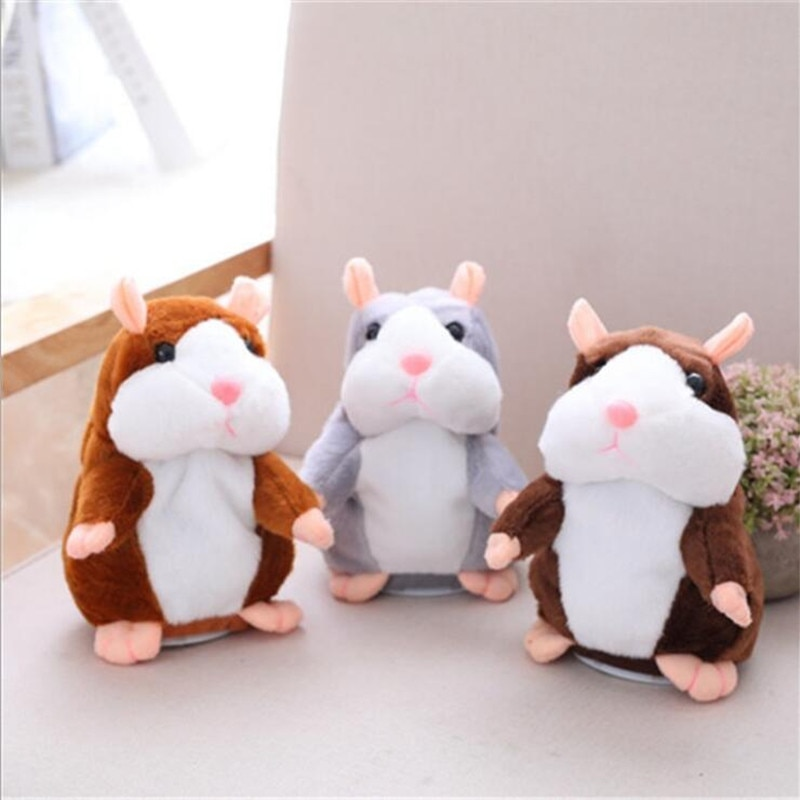 Dropshipping Talking Hamster Falante Mouse Pet Plush Toy Cute Sound Record Educational Stuffed Doll Children Gifts 15cm