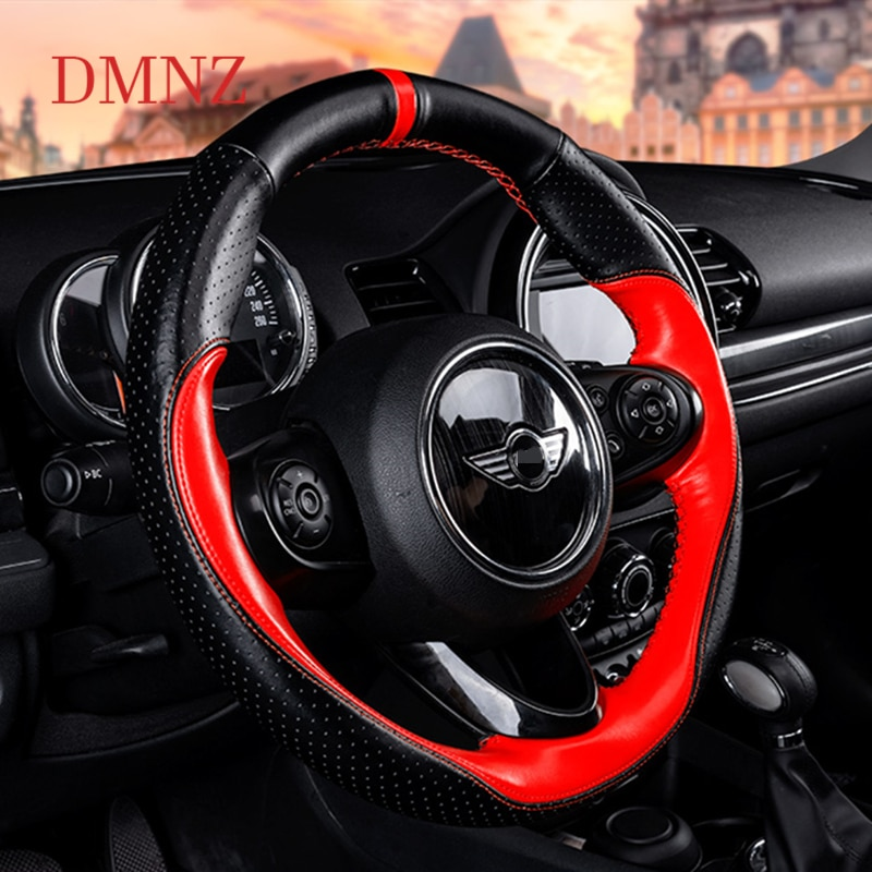 Car Steering Wheel Genuine Leather decoration Cover For BMW MINI Cooper S ONE F54 F55 F56 F57 F60 Clubman Countryman Accessories