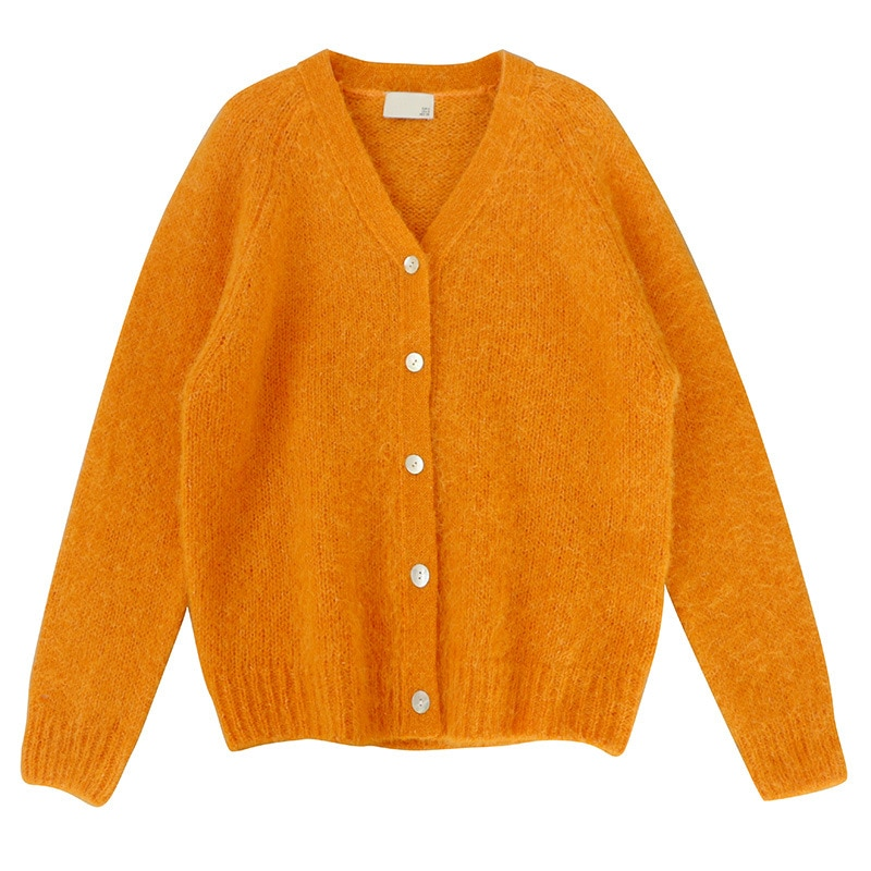 SHUCHAN Loose SWEATER WOMEN 40% Mohair Women Cardigan High Street Orange Single Breasted Knit Fall Clothes for Women