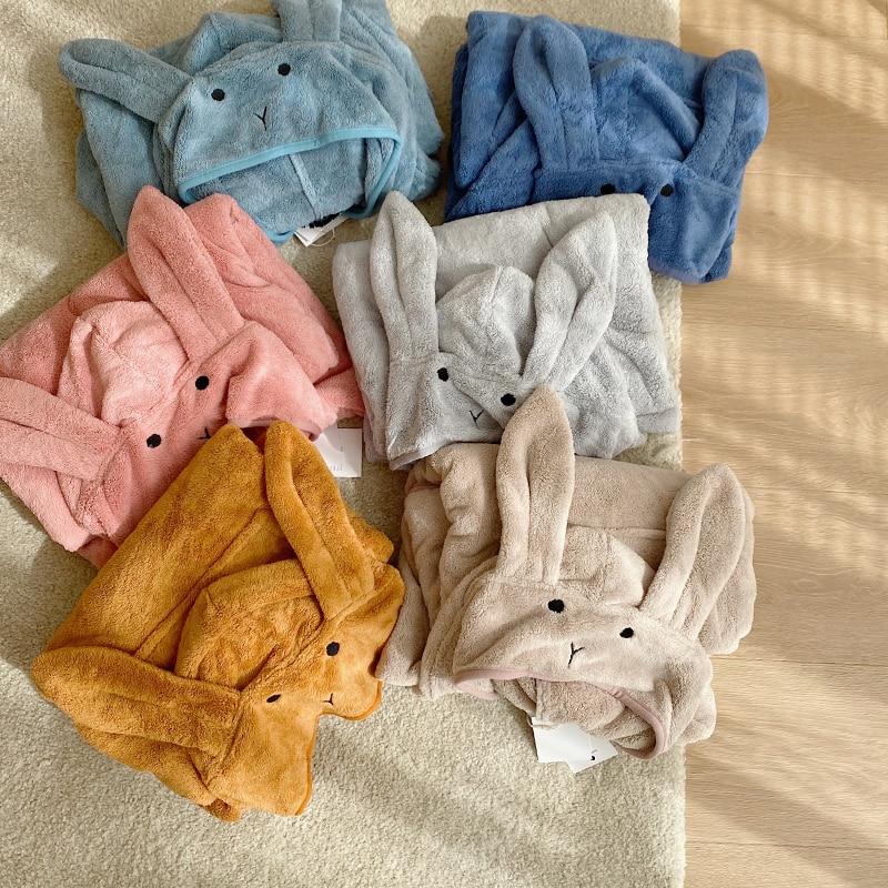 Baby Robe Cartoon Hoodies Rabbit Cloak Girl Boys Sleepwear Bath Towels Kids Soft Bathrobe Pajamas Children's Clothing Costumes