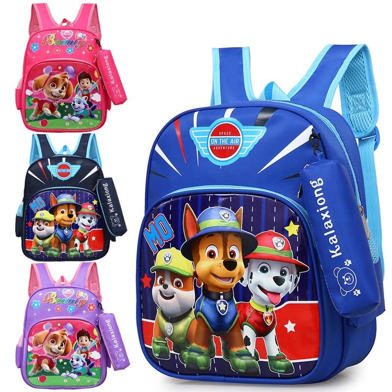 Dibujos Animados Paw Patrol bolsa Anime niños Kindergarten Backpac Skye Everest Marshall Chase lindo Anime niños niñas Backpac juguete regalos
