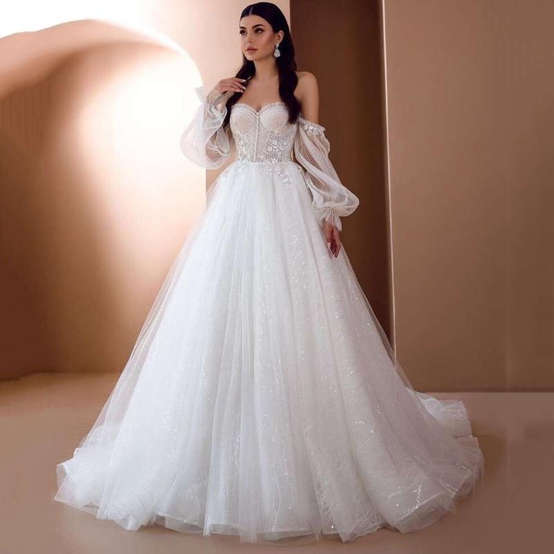 Chic Boho Wedding Dresses 2021 Long Puff Sleeve Wedding Gowns Lace Vintage Bride Dress Plus Size Beach Corset Back Bow Mariage