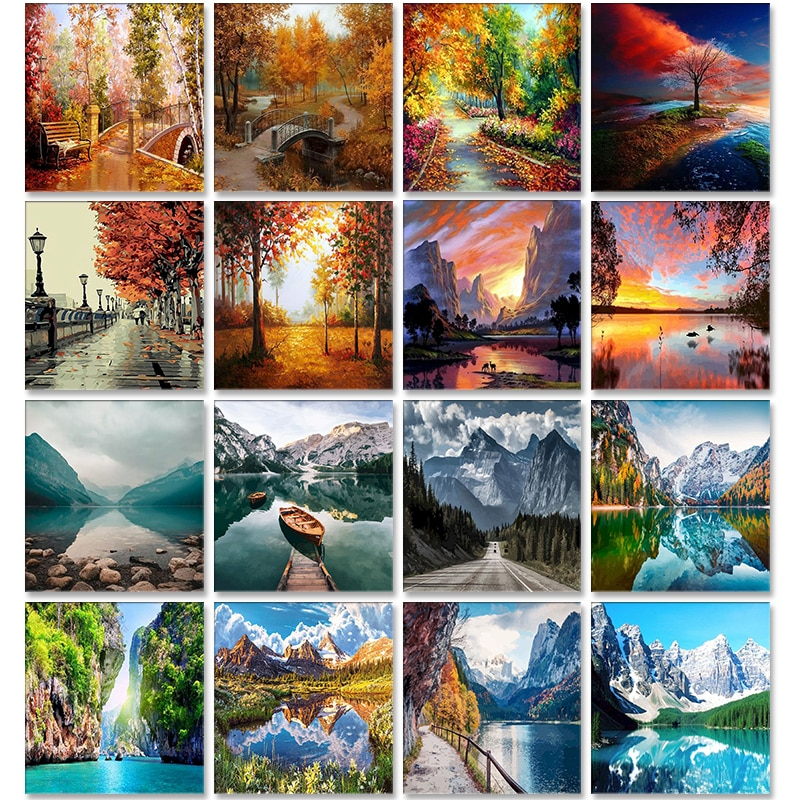 Scenery Acrylic Paint By Numbers Set Oil Painting For Adults DIY Kits Canvas Frame Picture Drawing Coloring By Numbers Decor Art