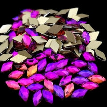 Recuerdame 10pcs Rhombus Nail Crystals Rose Red AB Rhinestones Gems Gold Bottom Flatback Strass Stone 3D Charms Nail Accessories