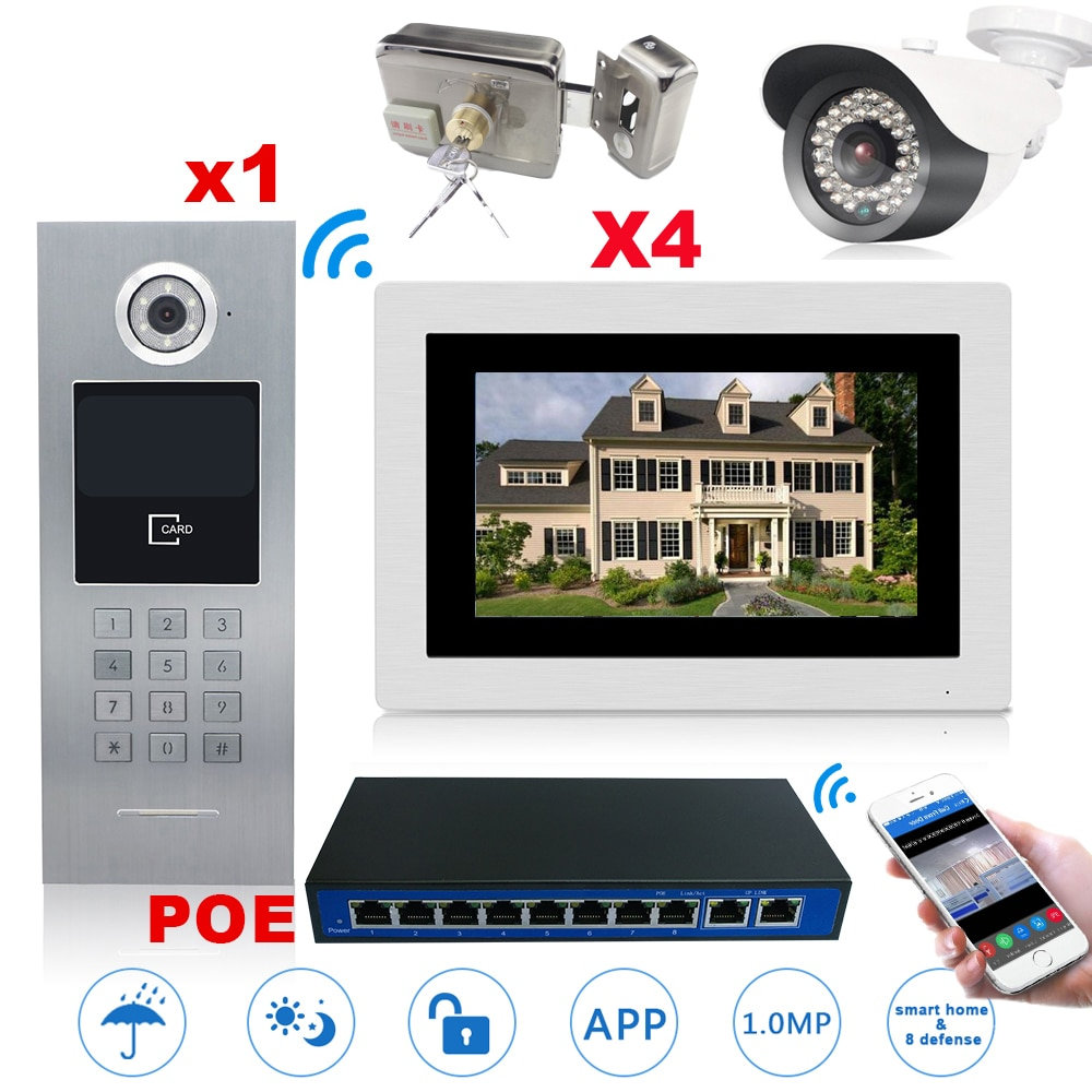 WiFi IP Video Door Phone Video Intercom Mobile App 4 Apartments Home Access Control System+IP Camera+Electronic Locks+POE Switch