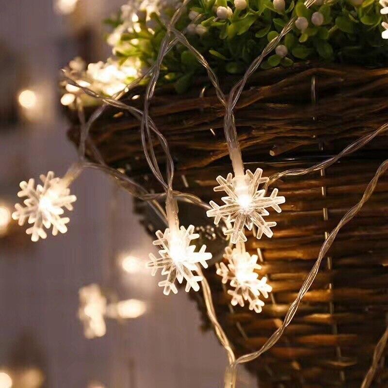 luzes da corda do floco de neve decoracao da arvore de natal luzes de fadas decoracao