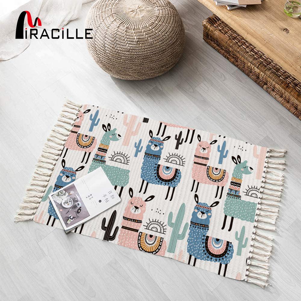 Miraille dos desenhos animados alpaca tapete bonito animal tapete para quarto borla cabeceira engraçado longo tapetes para crianças quarto