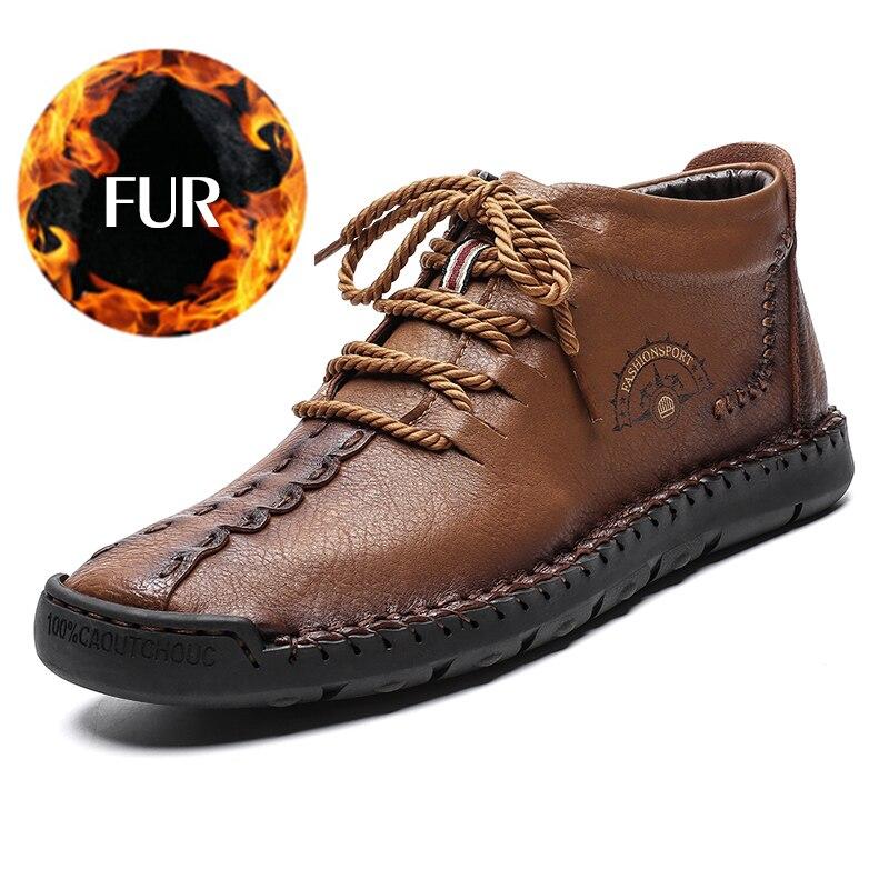 Botas de invierno de moda para hombre botas de nieve impermeables de cuero genuino cálido con piel ligero de tobillo alto calzado tallas grandes 48