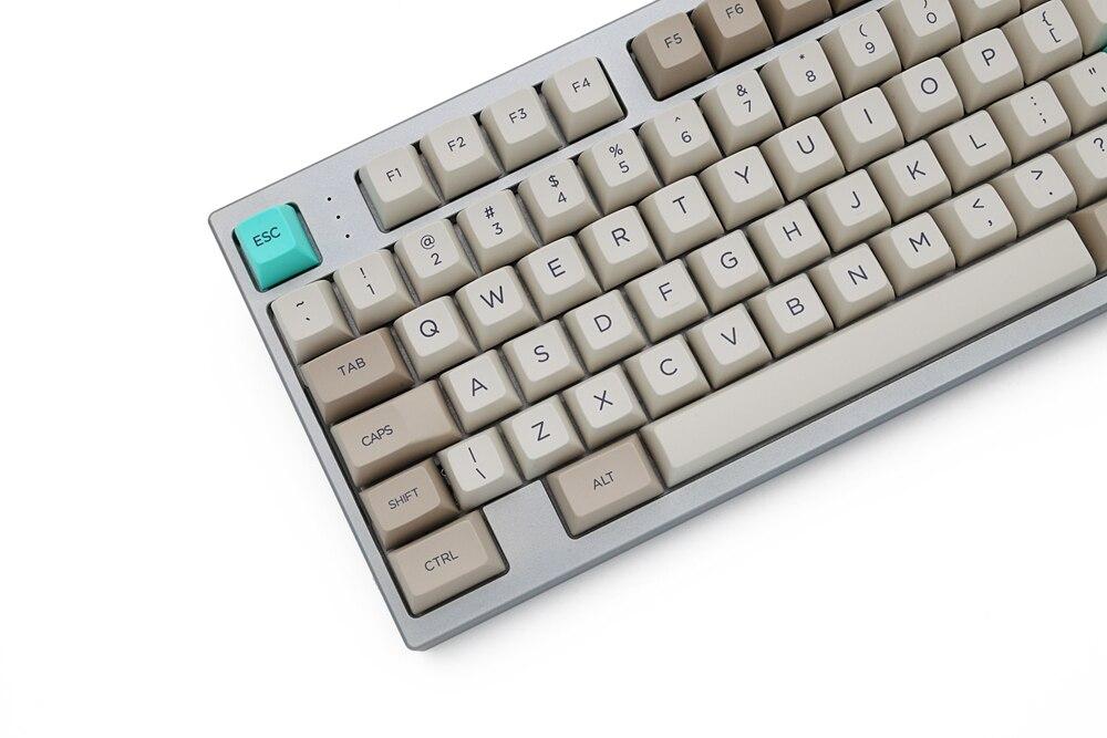 profile Dye Sub Keycap Set PBT plastic retro beige for mechanical keyboard beige grey cyan gh60 xd64 xd84 xd96 87 104 enlarge