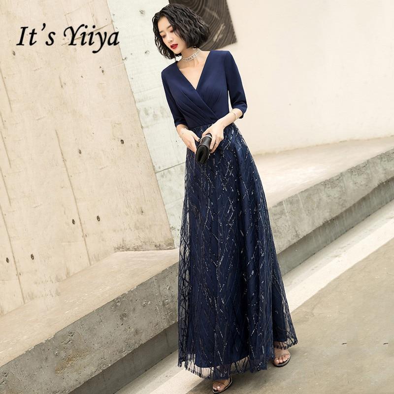 Yiiya BR319-فستان سهرة طويل باللون الأزرق الداكن ، ياقة على شكل v ، أكمام متوسطة الطول ، A-Line