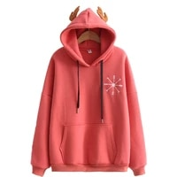 women cute antlers hooded embroidery loose plus velvet warm hoodies with pocket 2020 winter female casual hooded sweatshirts