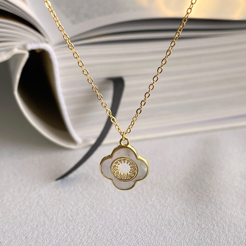 Clover Pendant Necklace Fine Jewelry 925 Sterling Silver Necklace For Woman Simple choker Chain Joyas De Plata 925 Mujer collier